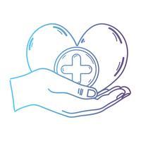 mains en ligne avec symbole de médecine cardiaque pour aider les