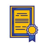 certificat de diplôme avec la conception de cadre en bois vecteur