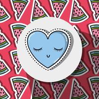 coeur avec patch yeux sur fond de melon d'eau vecteur