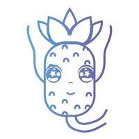 ligne kawaii mignon ananas heureux vecteur
