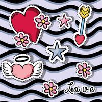 patchs design avec symbole de la Saint-Valentin de l'amour