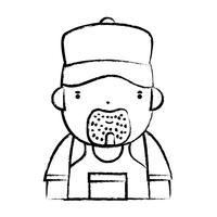 figure homme travail de plombier au service de réparation vecteur