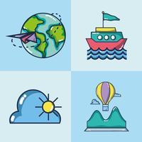 définir le voyage de vacances et la destination aventure vecteur