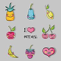 set kawaii tropical patchs fruits design vecteur