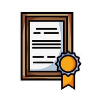 certificat de diplôme avec la conception de cadre en bois