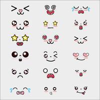 définir l'expression de visages mignons kawaii vecteur