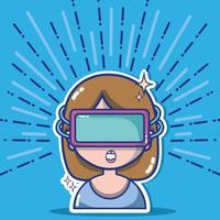fille avec la technologie des lunettes 3d à la réalité virtuelle vecteur
