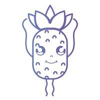 ligne kawaii mignon ananas heureux