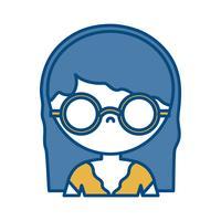 icône de fille avec des lunettes vecteur