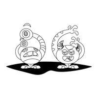 personnages monochromes comiques monstres vecteur