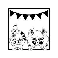 cadre monochrome avec monstres et guirlandes suspendus
