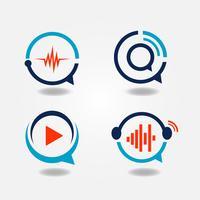 Logo multimédia de discours de bulle vecteur