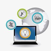 Marketing sur les médias numériques et sociaux vecteur