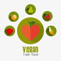 Conception de la nourriture végétalienne. vecteur
