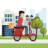 livreur avec personnage de moto