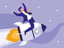 homme d'affaires prospère célébrant en fusée vecteur