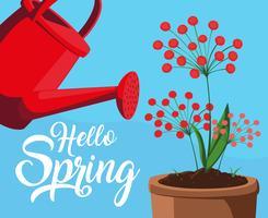 Bonjour la carte de printemps avec des fleurs rouges et un pot en plastique d'arroseur