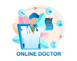 Médecin en ligne consultant le patient vecteur