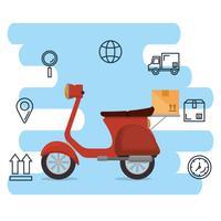 icône du service de livraison de moto vecteur