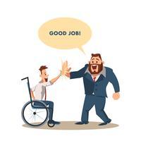 Un homme handicapé heureux donne cinq grands collègues en costume