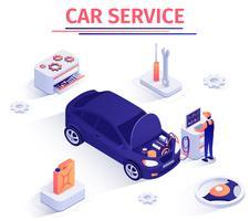 Bannière isométrique de vecteur de service d'inspection de voiture