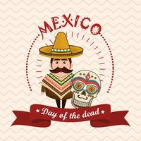 personnage de l'homme mexicain avec des icônes de la culture vecteur