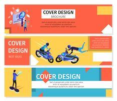 Bannières horizontales colorées sertie d'espace de copie vecteur