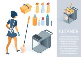 Femme de ménage en uniforme avec dessin animé de chariot de nettoyage