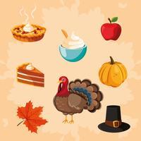 dinde du jour de thanksgiving avec icônes définies
