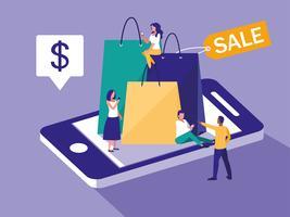 smartphone et shopping en ligne