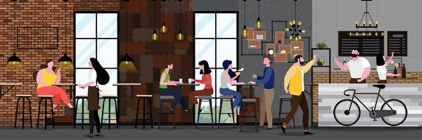 Café moderne plein de clients vecteur