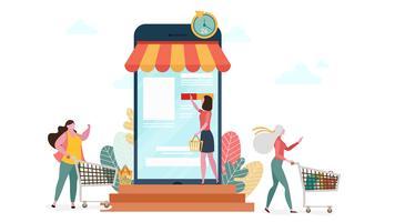 Shopping en ligne sur le concept de marketing par téléphone vecteur