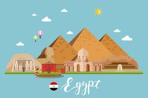 Paysage de voyage en Egypte vecteur