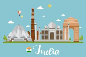 Paysage de voyage en Inde vecteur
