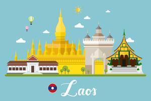 Paysage de voyage au Laos vecteur