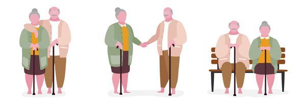 Couple de personnes âgées dans des poses différentes vecteur