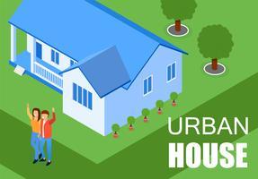 inscription maison urbaine vecteur
