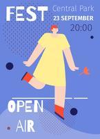 Open Air Music Festival affiche design plat vecteur