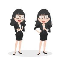 Femme affaires, vecteur, actions différentes
