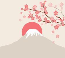 fleur de cerisier et mont Fuji vecteur