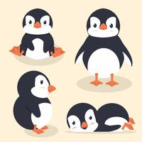Jeu de vecteur petit pingouin mignon
