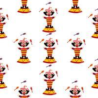 Motif mignon de clown de cirque vecteur