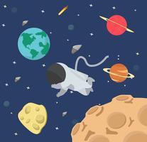 Astronaute dans la conception plate de l'espace vecteur