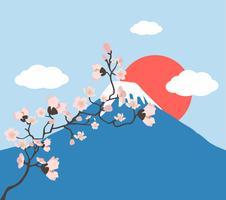 branche florale rose et vecteur du mont Fuji