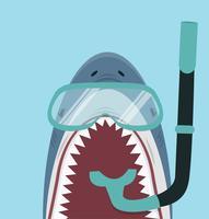 Requin blanc avec équipement de plongée vecteur