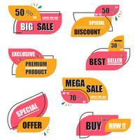 Collection d'étiquettes et de tags de vente d'origami moderne vecteur