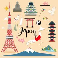 Collection de sets touristiques au Japon vecteur