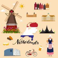 Collection de sets touristiques Pays-Bas vecteur