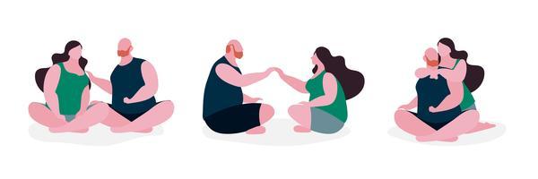 Illustration du personnage gros couple vecteur