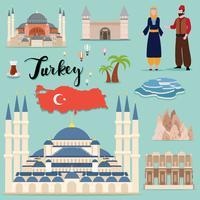 Collection de sets touristiques Turquie vecteur